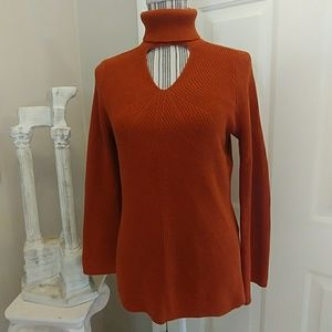 Chico's Turtleneck Sweater with Keyhole Cutout